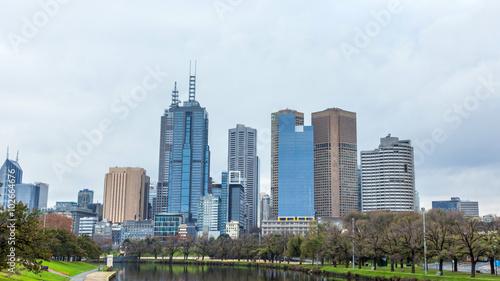Foto op Plexiglas Panoramafoto s Yarra River and Melbourne skyline.