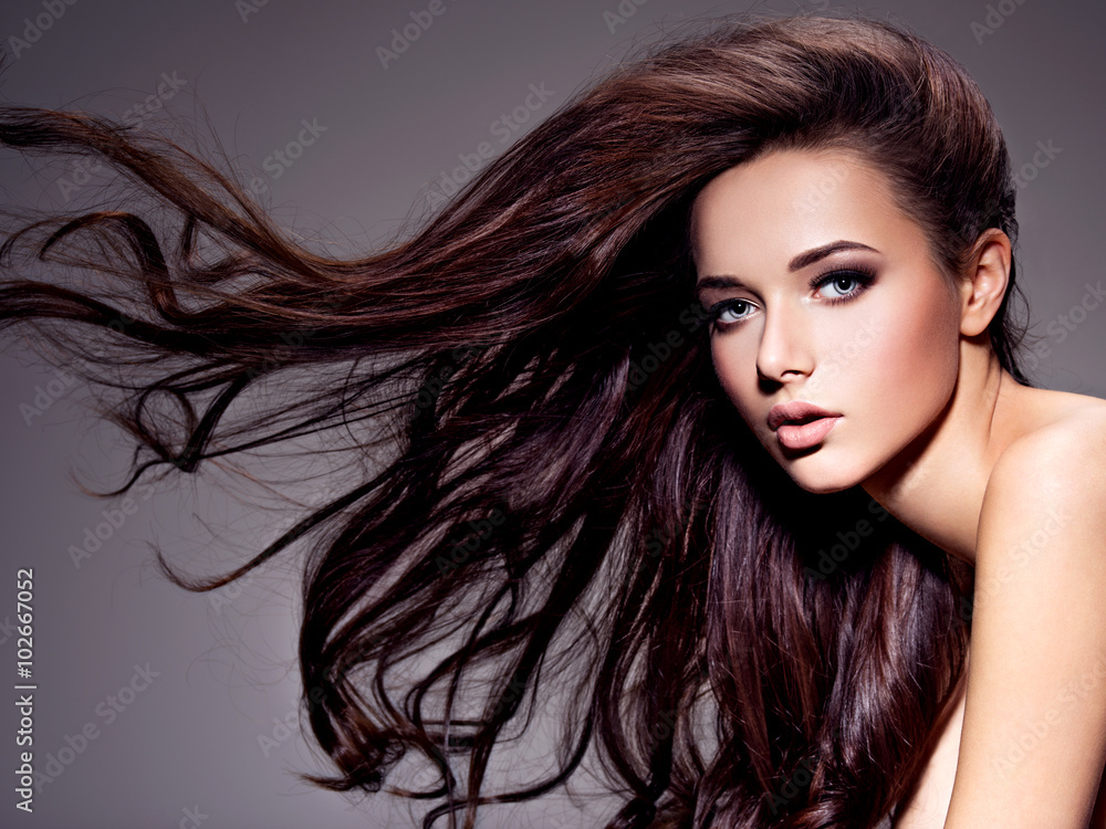 Fototapety, obrazy: Portrait of the beautiful  young woman with long brown  hair
