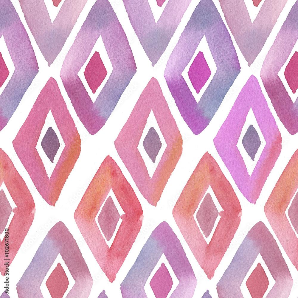 pink watercolor rhombous pattern