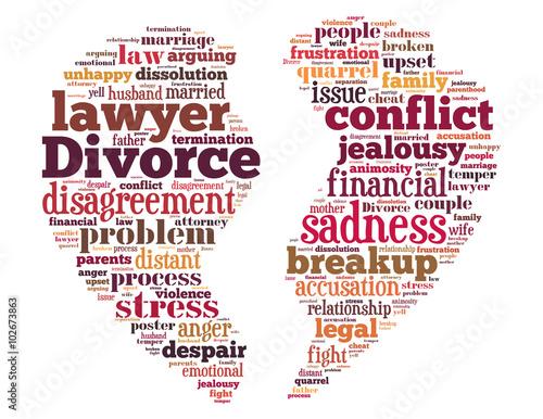 Photo Divorce broken heart, word cloud concept 6