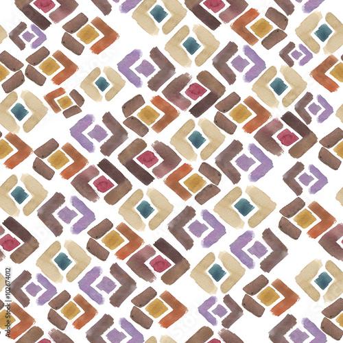 Fotografie, Obraz  boho ornament watercolor pattern