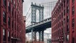 Time lapse view of Manhattan bridge from Washington street, Brooklyn, New York, USA