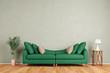 Leinwanddruck Bild - Grünes Sofa vor Wand im Wohnzimmer