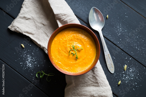 Fotografie, Obraz  Carrot cream soup with rosemary