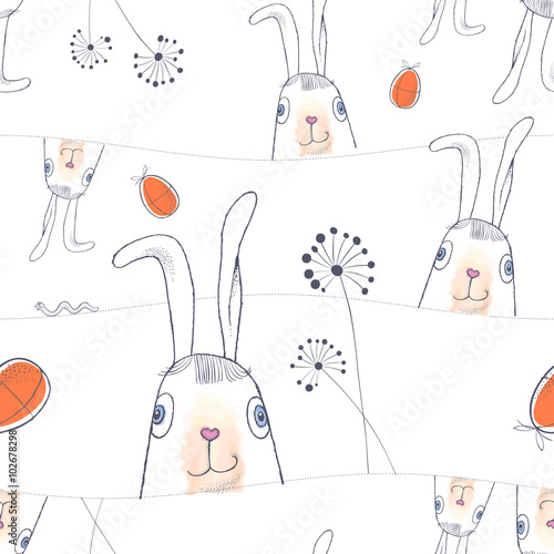 Cotton fabric Hand drawn Easter seamless pattern. Easter Bunnies and Easter eggs