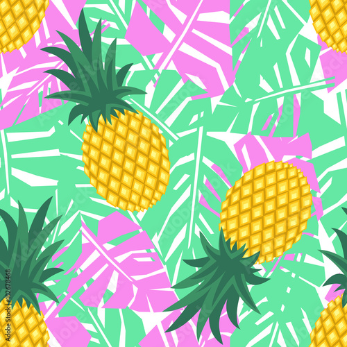 Fototapeta Pineapple with tropical leaves seamless pattern Cute vector pineapple pattern Summer fruit illustration Bright fruits with palm leaves background Green mint with pink jungle illustration