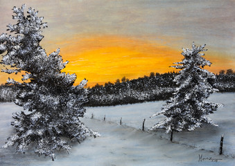 Panel Szklany Zima Pastellbild Winterlandschaft