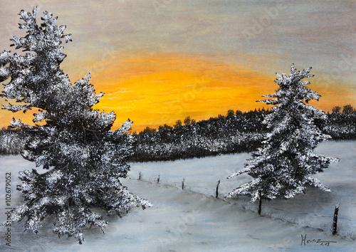 Pastellbild Winterlandschaft - 102679052