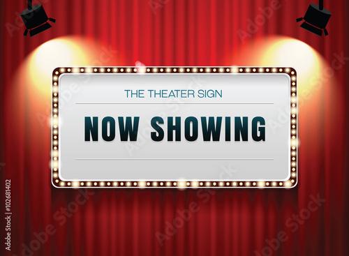 Photo  theater sign on curtain