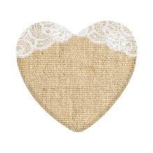 Burlap Heart With Lace Isolated On White
