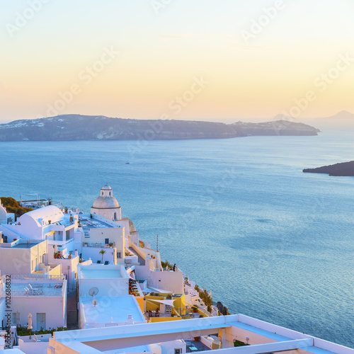 Beautiful panoramic view from the touristic Fira town to