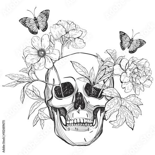 Printed kitchen splashbacks Watercolor skull Skull, flowers and butterfly.