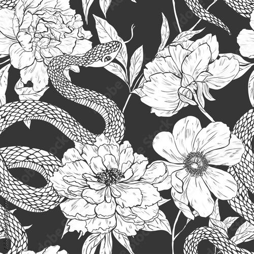 Materiał do szycia Węże i kwiatów wzór.