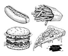 Vector Vintage Fast Food Drawing Set.