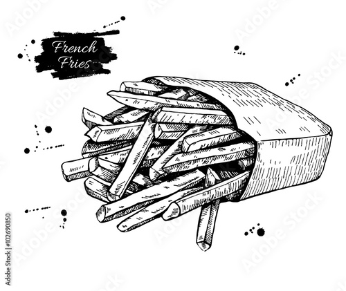 Photo  Vector vintage french fries drawing. Hand drawn monochrome fast