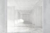 Fototapeta Perspektywa 3d - Loft style tunnel with many walls in light empty building