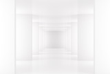 Fototapeta Do przedpokoju - White interior with long corridor in modern space