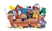 Large Leather Sofa With A Bunch Of Different Things