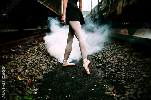 Woman Dancing Ballet in a Railtrack Plakát