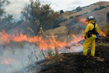 Wildland Firefighter Fighting Fire