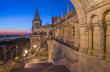 North Gate of Fisherman's Bastion in Budapest, Hungary Illuminated at Dawn