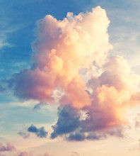 Sunny Sky Background In Vintage Retro Style
