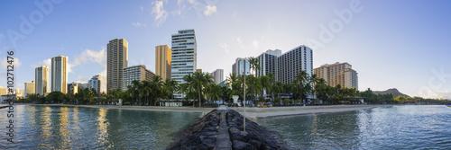 Foto op Aluminium Blauw Waikiki Skyline