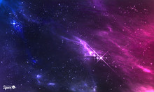 Deep Space. Vector Illustration Of Cosmic Nebula With Star Cluster.
