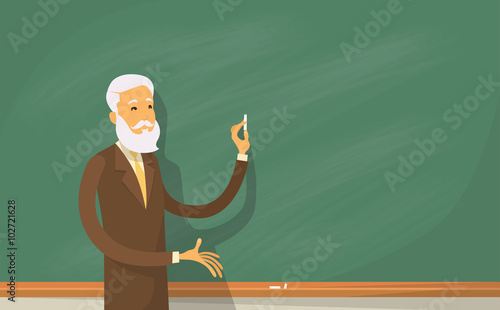 Obraz na płótnie University Professor Lecture College Teacher at Classroom, Stand Over Green Boar