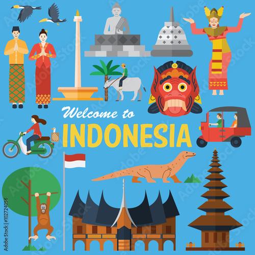 Fotografía  Flat design, Illustration of Indonesia icons and landmarks