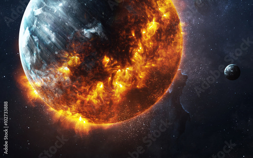 Fototapeta Abstract apocalyptic background - burning and exploding planet