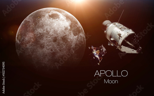 Vászonkép Moon - Apollo spacecraft. This image elements furnished by NASA.