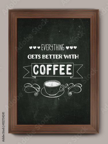 Photo  Hand drawn poster with quote about coffee