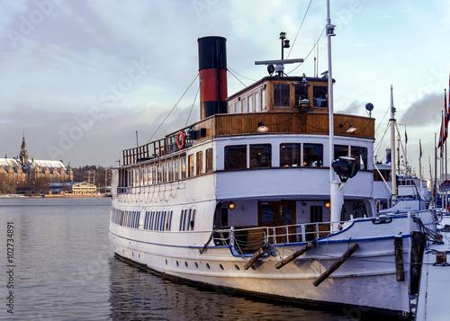 Photo vintage boat in Stockholm, Sweden