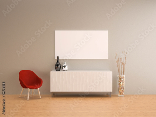 Fotografia, Obraz  grey wall with red armchair living room-interior