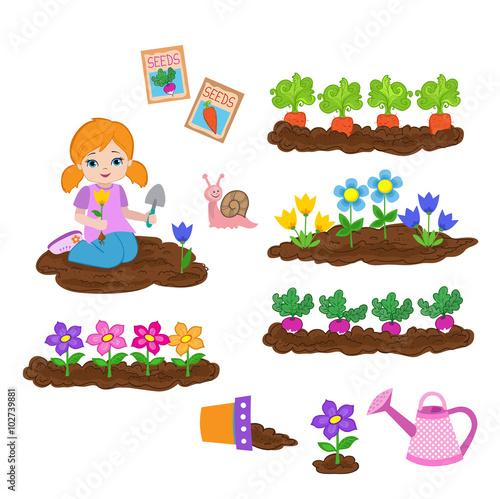 In de dag Regenboog Girl planting things and working in the garden.