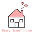 cute lovely black white and pink home with hearts cartoon vector illustration