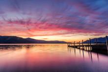 Stunning Vibrant Sunset At Ashness Jetty In Keswick, The Lake District, UK.