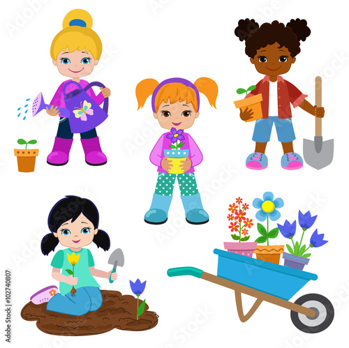 In de dag Regenboog Girls planting flowers and working in the garden.Vector illustration isolated on white background.