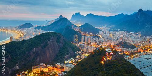 Photo  Night panorama of Rio de Janeiro, Brazil
