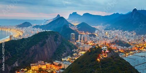 Night panorama of Rio de Janeiro, Brazil Wallpaper Mural