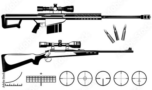 Fotografía  Set of firearms sniper rifles and targets