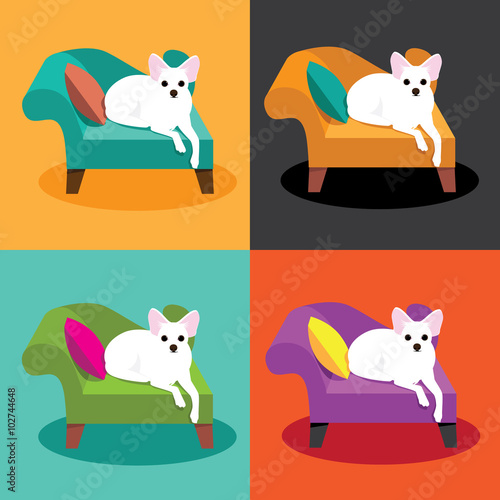 Flat Design White Chihuahua On Chaise In Pop Art Style EPS 10 Vector Illustration