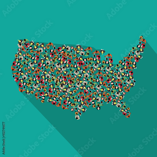 Valokuva  Flat design map of the United States made up of a crowd of people icons