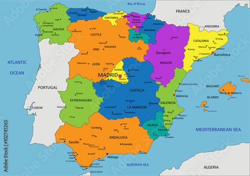 Map Of Spain Political.Colorful Spain Political Map With Clearly Labeled Separated Layers