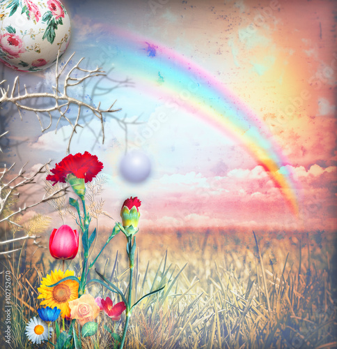 Canvas Prints Imagination Enchanted rainbow in the countryside series