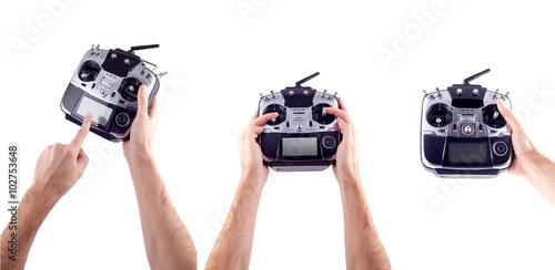 Fototapeta Remote control in hand man obraz na płótnie
