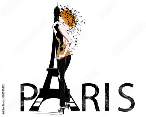 Photo  Paris text with Eiffel tower and romantic fashion girl.