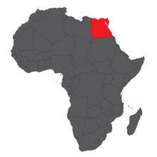 Map Of Africa On Gray With Red Egypt Vector