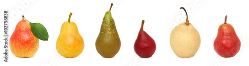 Set ripe whole pears (isolated)
